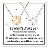 POWWA Freundschaftskette für 2 Mädchen Kompass Beste Freundin Kette BFF Passende Schmuck Geschenk für Frauen Bestie Freunde Schwester